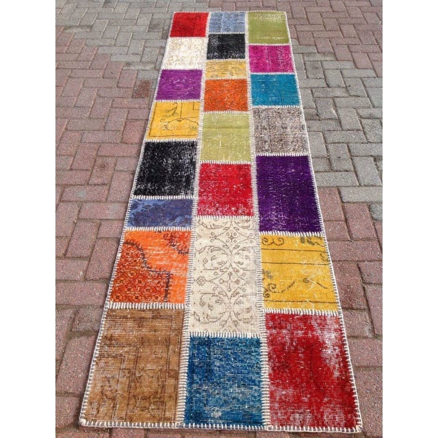 "Multicolor Turkish Runner Rug, 2' 7"" x 9' 2"" - Image 5 of 6"