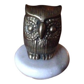 Vintage Brass & Marble Owl