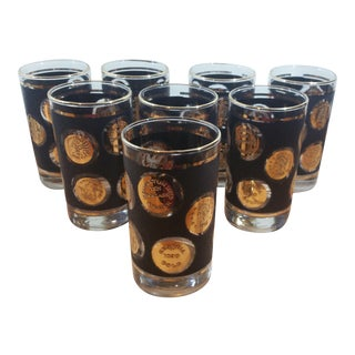 Libbey Patriotic Gold Coin, Black and Clear Glass Tumblers - Set of 8