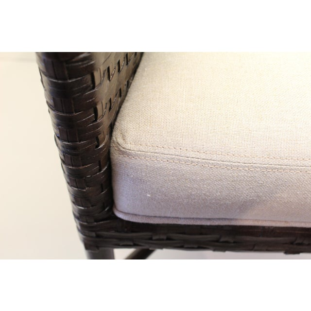McGuire Thomas Pheasant Woven Leather Dining Arm Chair - Image 7 of 7