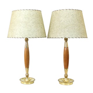 Mid-Century Modern Teak & Brass Lamps - A Pair