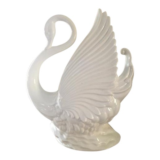 Mid-Century Modern California Pottery White Swan TV Lamp/Planter - Image 1 of 4