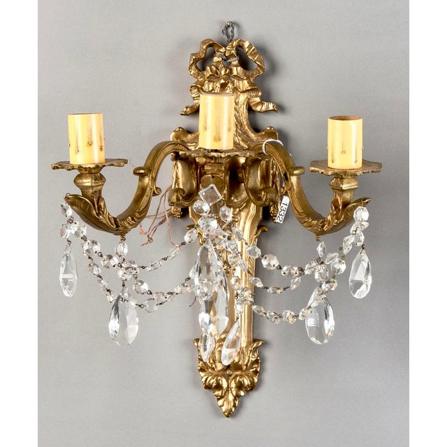 Pair of Large French Brass and Crystal Three Light Sconces - Image 3 of 7