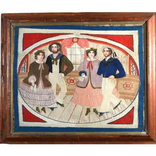Rare Folk Art Sailor's Woolwork of Sailor's and Companions Dancing