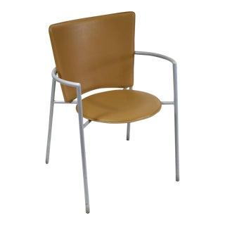 Italian Made Post Modern Brown Leather Armchair