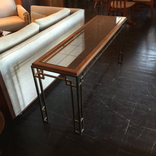 Midcentury Modern Brass Base Console Table - Image 4 of 9