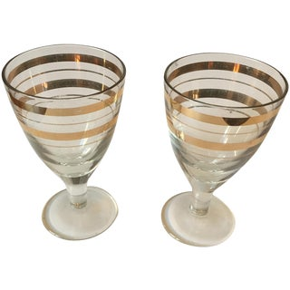 Vintage Gold Stripped Shot Glasses- A Pair