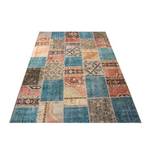 Blue Turkish Patchwork Rug - 6′8″ × 9′10″
