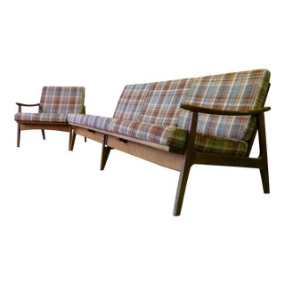 Plaid Mid Century Plaid SOFA + LOUNGE CHAIR