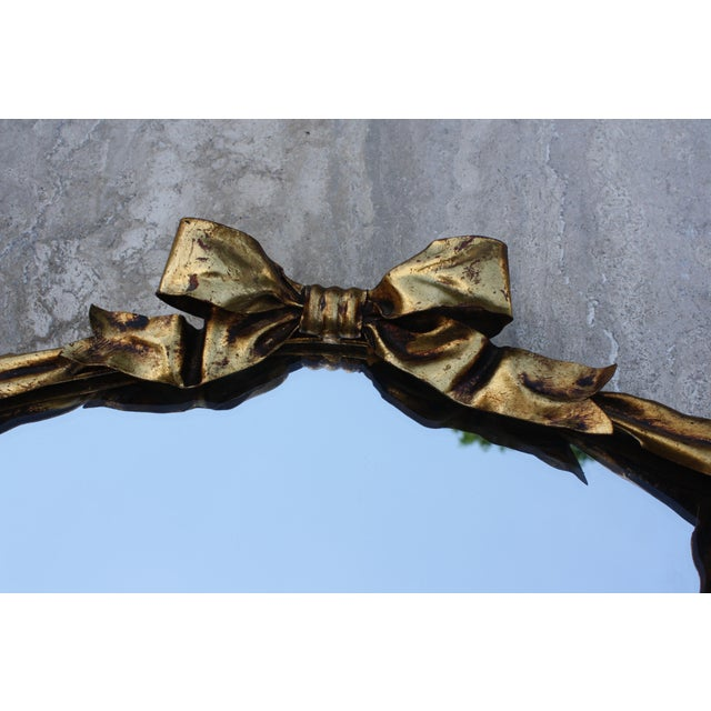 Dorothy Draper Style Gilt Bow & Shield Mirror - Image 4 of 6