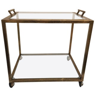 Tray-Top Brass Patina Rolling Bar Cart