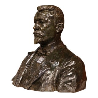 """Large 20th Century French Bronze Bust Signed """"A. Descatoire"""", 1913"""