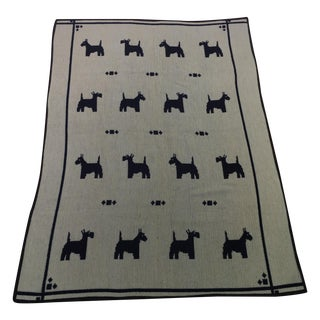 Scotty Dogs on Reversible Beige and Navy Blanket