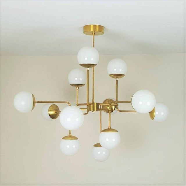 Classic Italian Modern Brass Chandelier With Glass Globes, Model 420 - Image 7 of 7