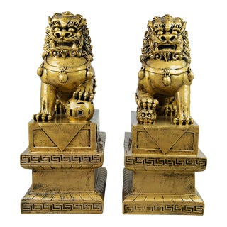 Chinese Golden & Black Foo Dogs - A Pair