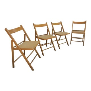 Vintage Italian Beech Wood and Cane Folding Chairs -Set of Four