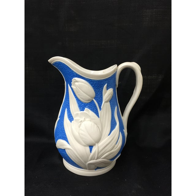 1850s Blue & White Tulip Relief Pitcher - Image 2 of 6