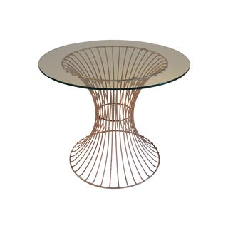 Mid-Century Wire-Base Glass-Top Table