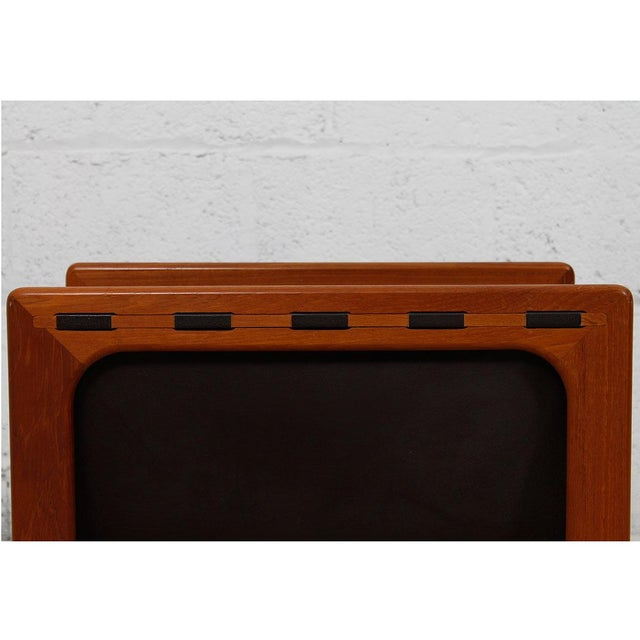 Image of Danish Modern Teak & Leather Magazine Rack
