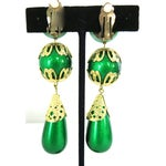 """Image of Vintage 1960s  Green & Gold Chunky 3.5""""  Earrings"""