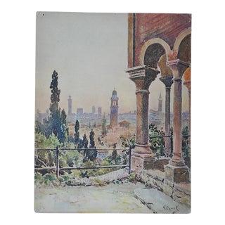 Vintage Lithograph Northern Italy, Verona