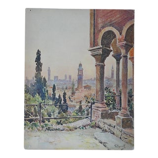 Vintage Lithograph Northern Italy, Verona