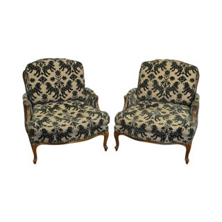 Ethan Allen Wide Seat French Louis XV Style Lounge Chairs Bergeres - A Pair