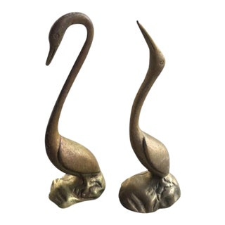 Vintage Brass Shore Bird Figurines - A Pair