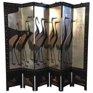 1950s Silver Leaf Folding Standing Screen