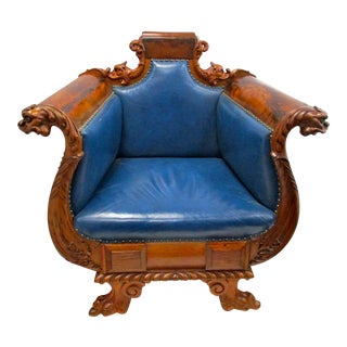 Carved Mahogany Figural Arm Chair
