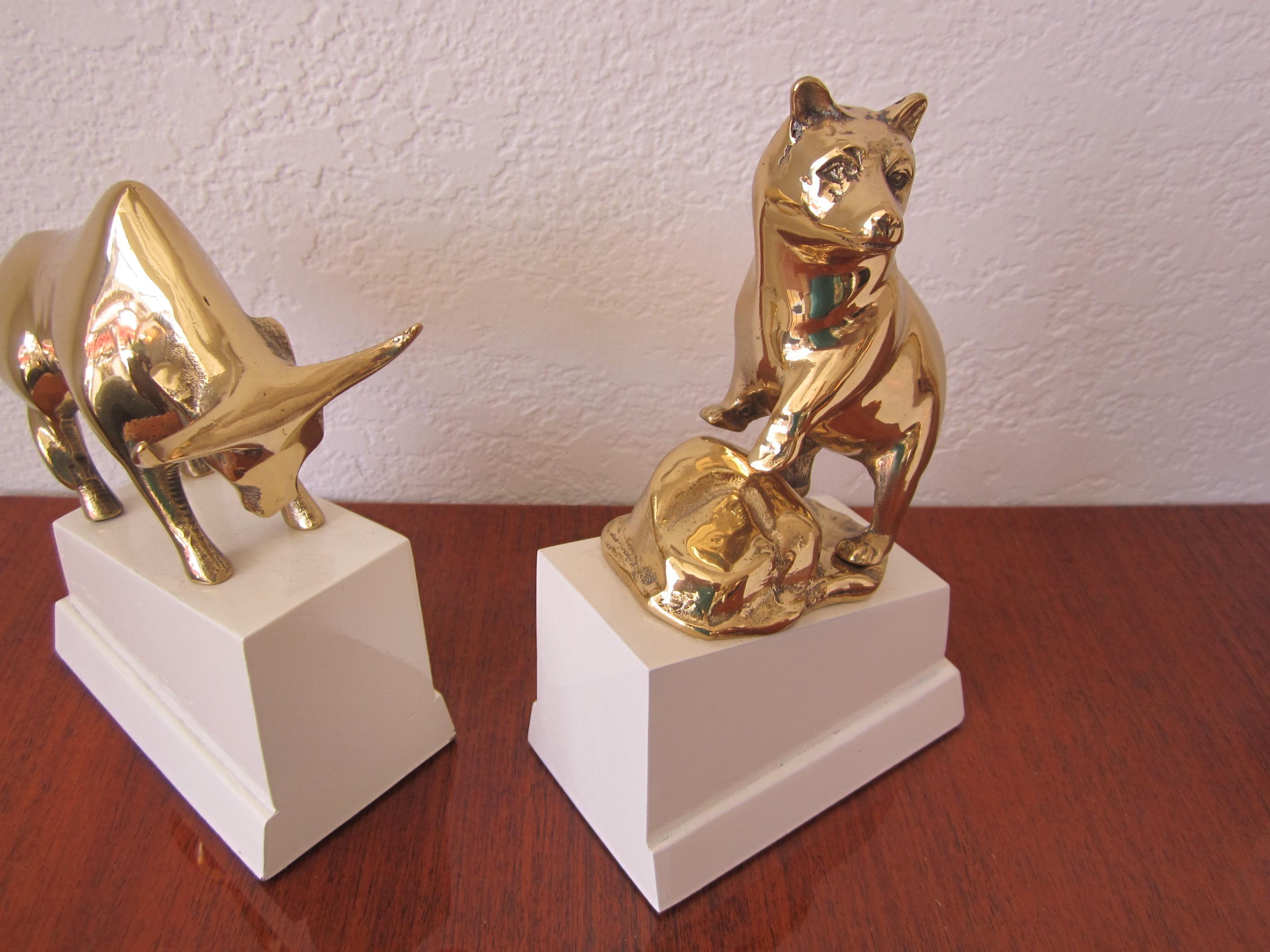 Polished Brass Bull And Standing Bear Bookends On Lacquered Blocks Chairish  Bear And Bull Bookends
