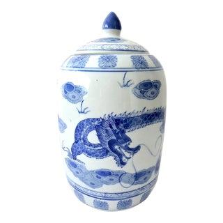 Flying Dragon Blue & White Ginger Jar