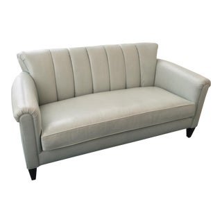 Transitional Barbara Barry Leather Love Seat