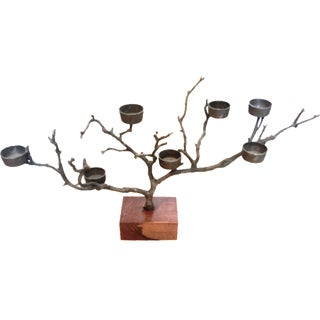 Metal Tree Branch Tealight Candelabra