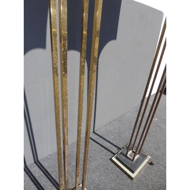 Mid-Century Art Deco Brass Plated Torchiere Floor Lamps - a Pair - Image 9 of 11