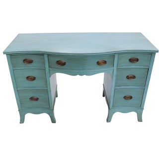 Vintage Drexel Turquoise-Painted Desk Vanity