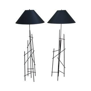 Bronze Eiffel Tower Floor Lamps - A Pair