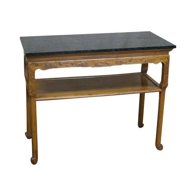 Baker Furniture Carved Teak Chinese Style Granite Top Console Table - Image 1 of 10