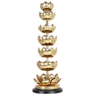 Monumental Lotus Flower Brass Pricket Candlestick, circa 1960s