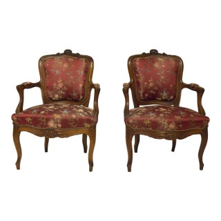 19th Century French Walnut Armchairs - A Pair