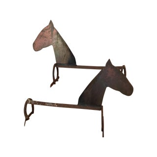 Primitive Smiling Horse Andirons - A Pair