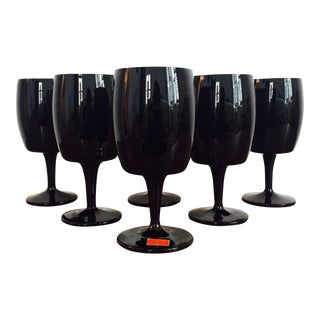 Gorham Reizart Mid-Century Black Amethyst Glasses - Set of 6