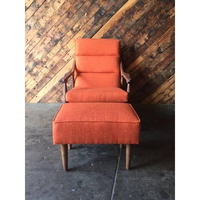 Custom Mid Century Lounge Chair With Ottoman - Image 4 of 6