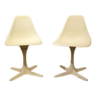 Burke Mid-Century Tulip Style Swivel Side/Dining Chairs - A Pair