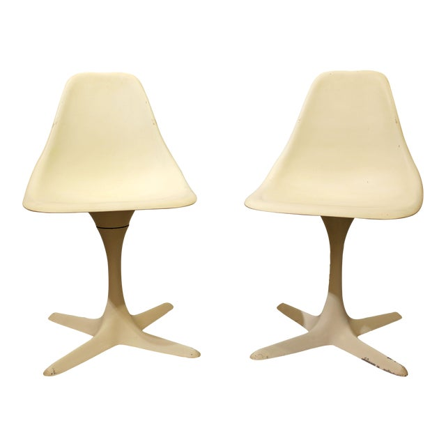 Burke Mid-Century Tulip Style Swivel Side/Dining Chairs - A Pair - Image 1 of 11