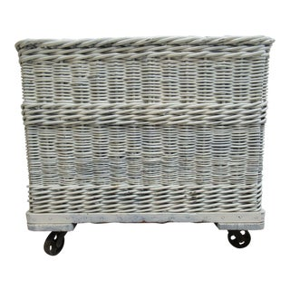 Antique Industrial Wicker Basket Hamper