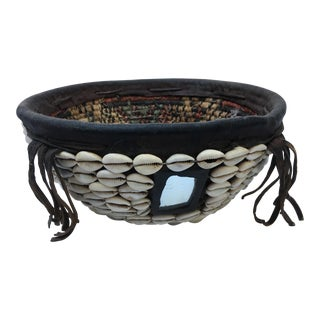 African Cowry Shell & Mirror Detail Basket