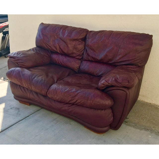 Klaussner Overstuffed Bonded Leather Loveseat - Image 3 of 10