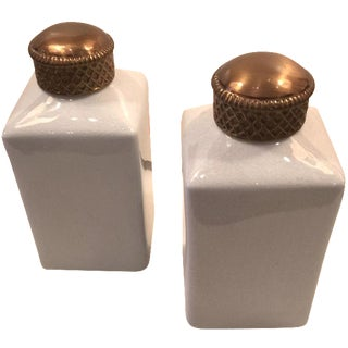 White Ceramic Canisters with Brass Caps - A Pair