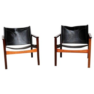 Pair of Leather & Rosewood Michel Arnoult Safari Armchairs